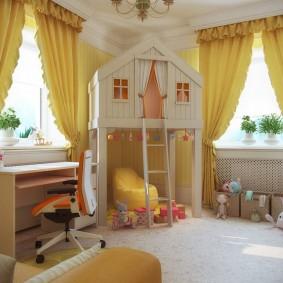 Желтые шторы в комнате мальчиков