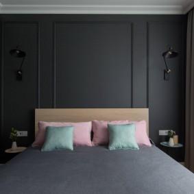 Темно-серая отделка стен в спальне