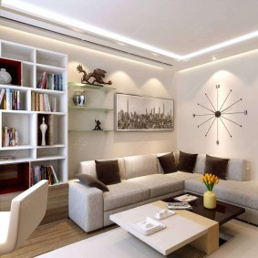 Освещение в гостиной трехкомнатной квартиры