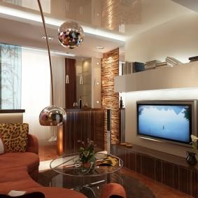 Интерьер маленькой гостиной в трешке панельного дома