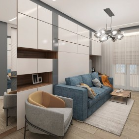 Раскладной диван в гостиной комнате