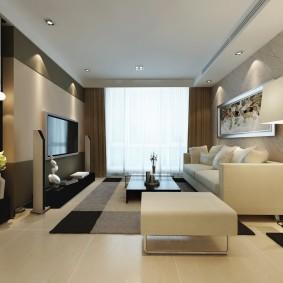 Вытянутая гостиная в современном стиле