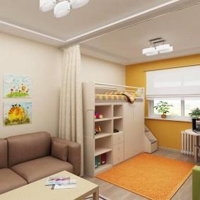 Детская зона в гостиной с белым потолком