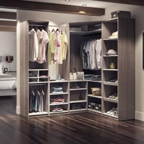 Модульная мебель для хранения одежды в спальне