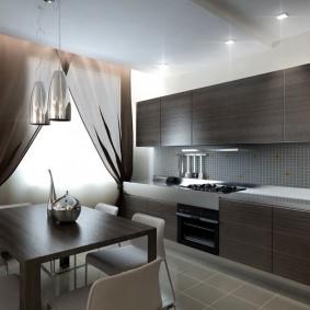 Темный гарнитур в современной кухне