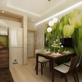 Фотообои в интерьере кухни городской квартиры