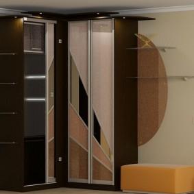 Угловой каркасный шкаф со встроенной подсветкой