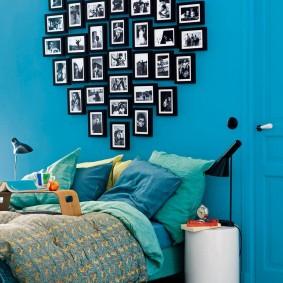 Размещение фото в форме сердечка на стене спальни
