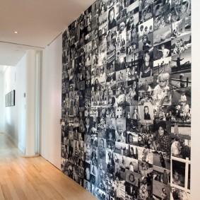 Монохромные снимки вместо обоев в прихожей комнате