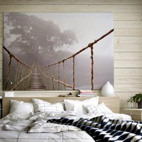Большое фото в спальной комнате