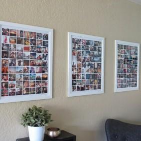 Коллекция поляроидных снимков в рамках