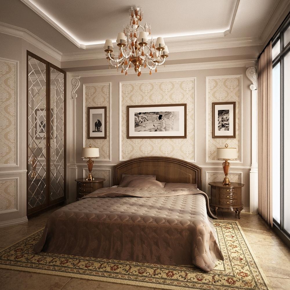 Декор фотографиями стены спальни в стиле классики
