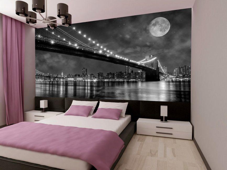 фотообои в спальню ночной город