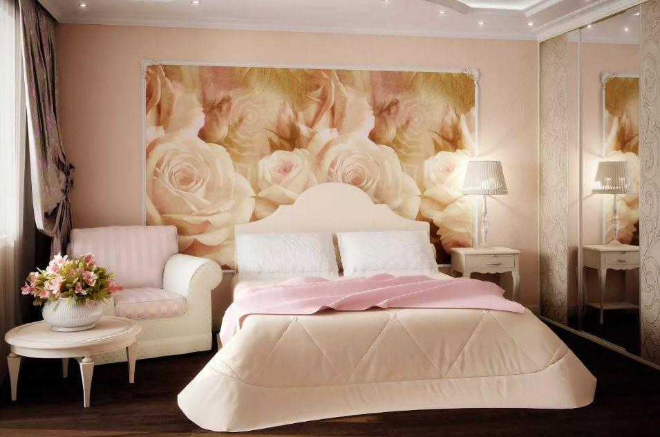 фотообои в спальню розы идеи