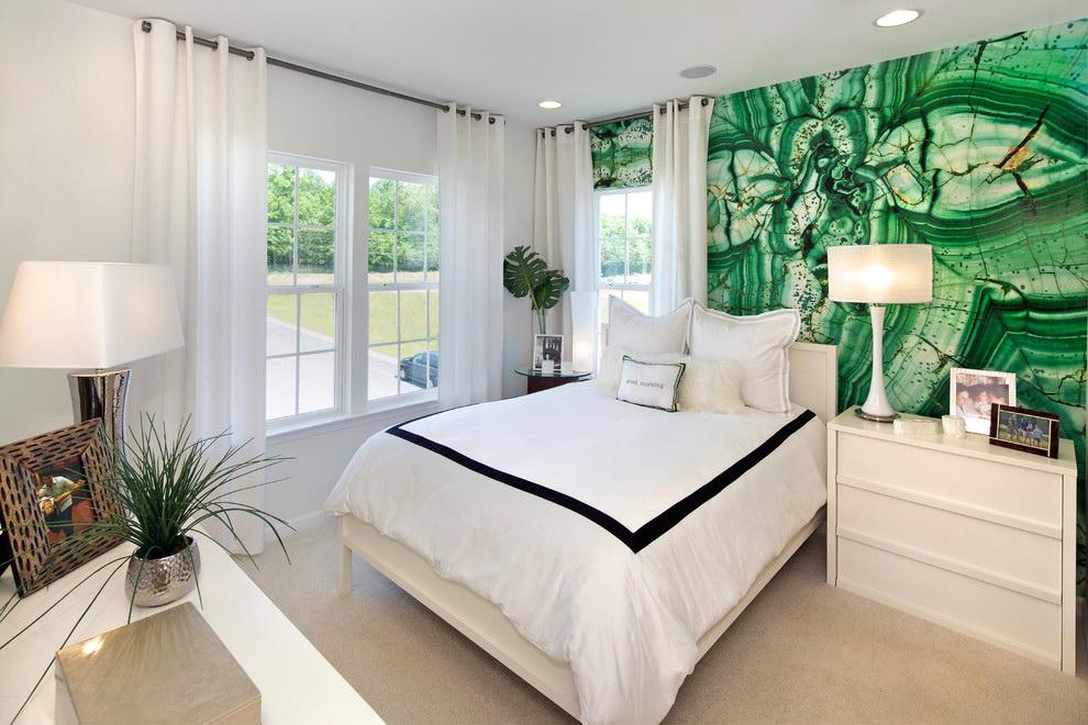 фотообои в спальню зеленые