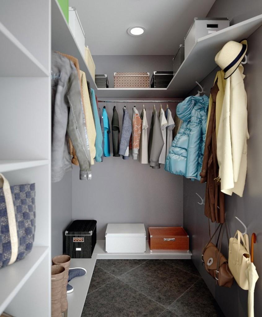 Отделка стен гардеробной комнаты в серый цвет