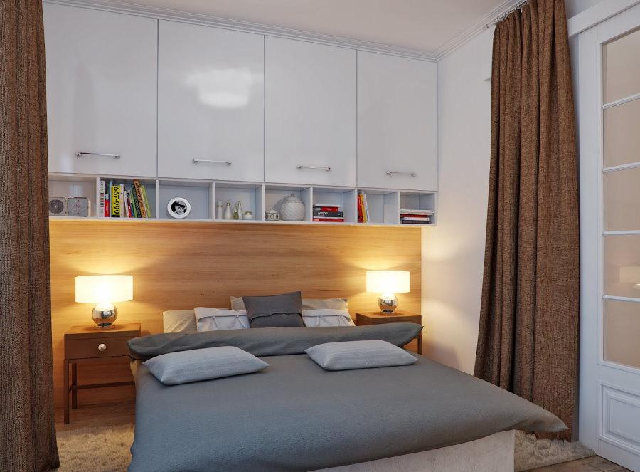 Глянцевые шкафы над кроватью в спальне без окна