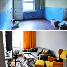 Фото гостиной комнаты до перепланировки в трешке