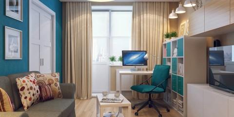 гостиная с компьютерным столом декор