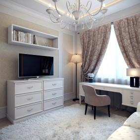 гостиная с компьютерным столом фото интерьер