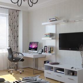 гостиная с компьютерным столом интерьер идеи
