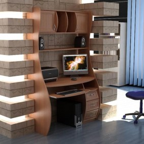гостиная с компьютерным столом идеи интерьера
