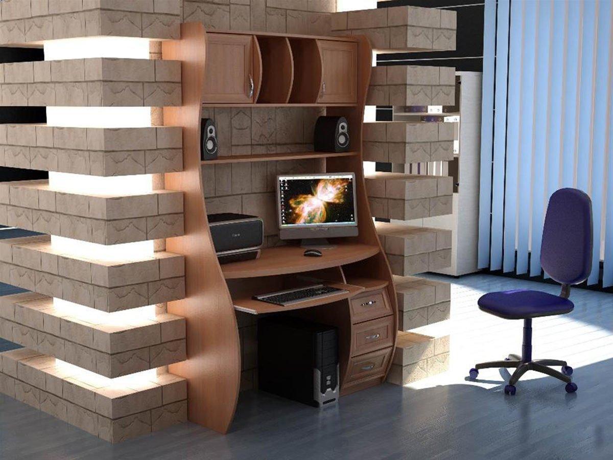 компьютерный стол в гостиной решение фото друзей