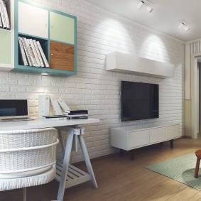 гостиная с компьютерным столом фото дизайна