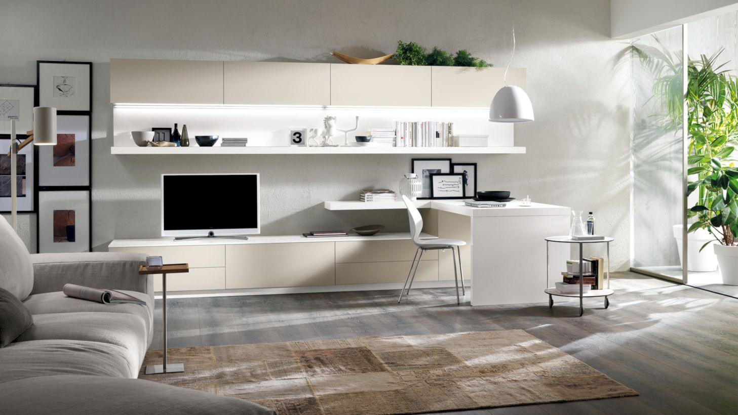 гостиная с компьютерным столом дизайн фото