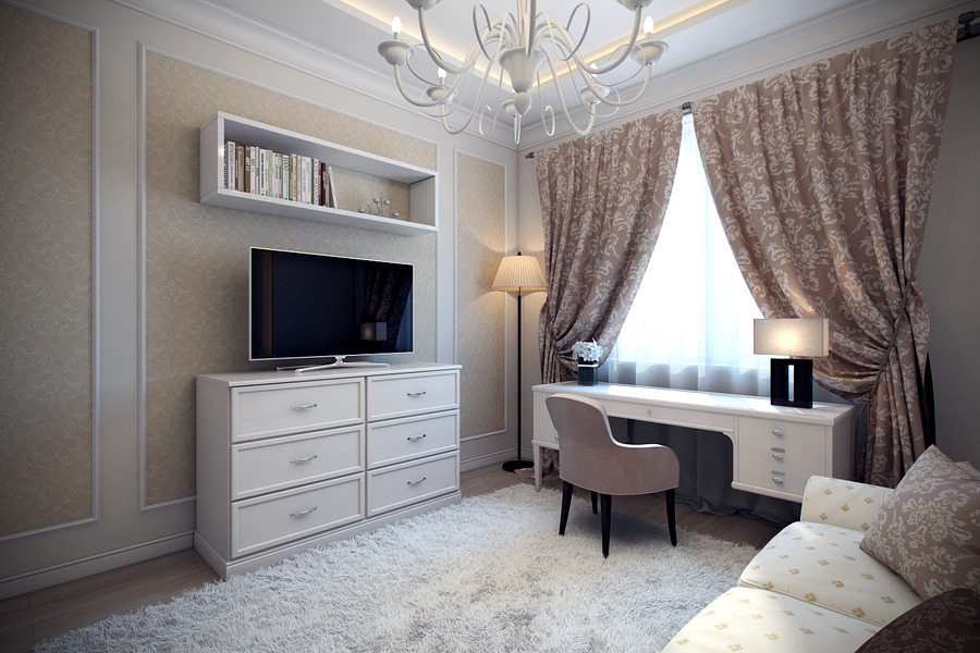 гостиная с компьютерным столом дизайн