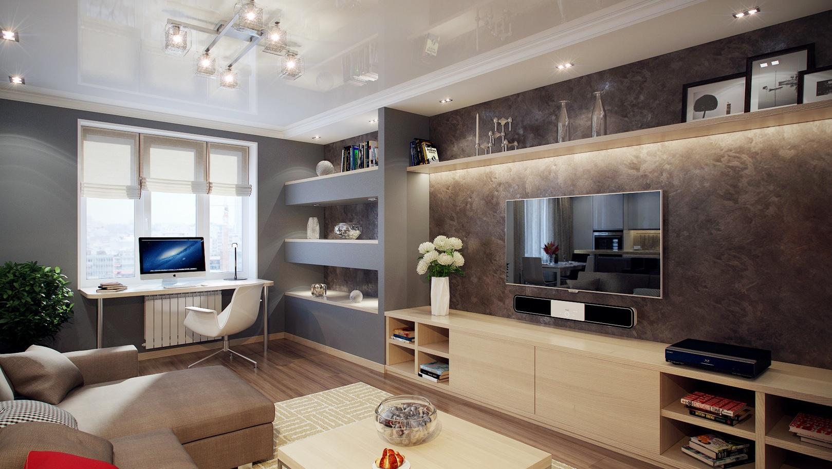 гостиная с компьютерным столом интерьер фото