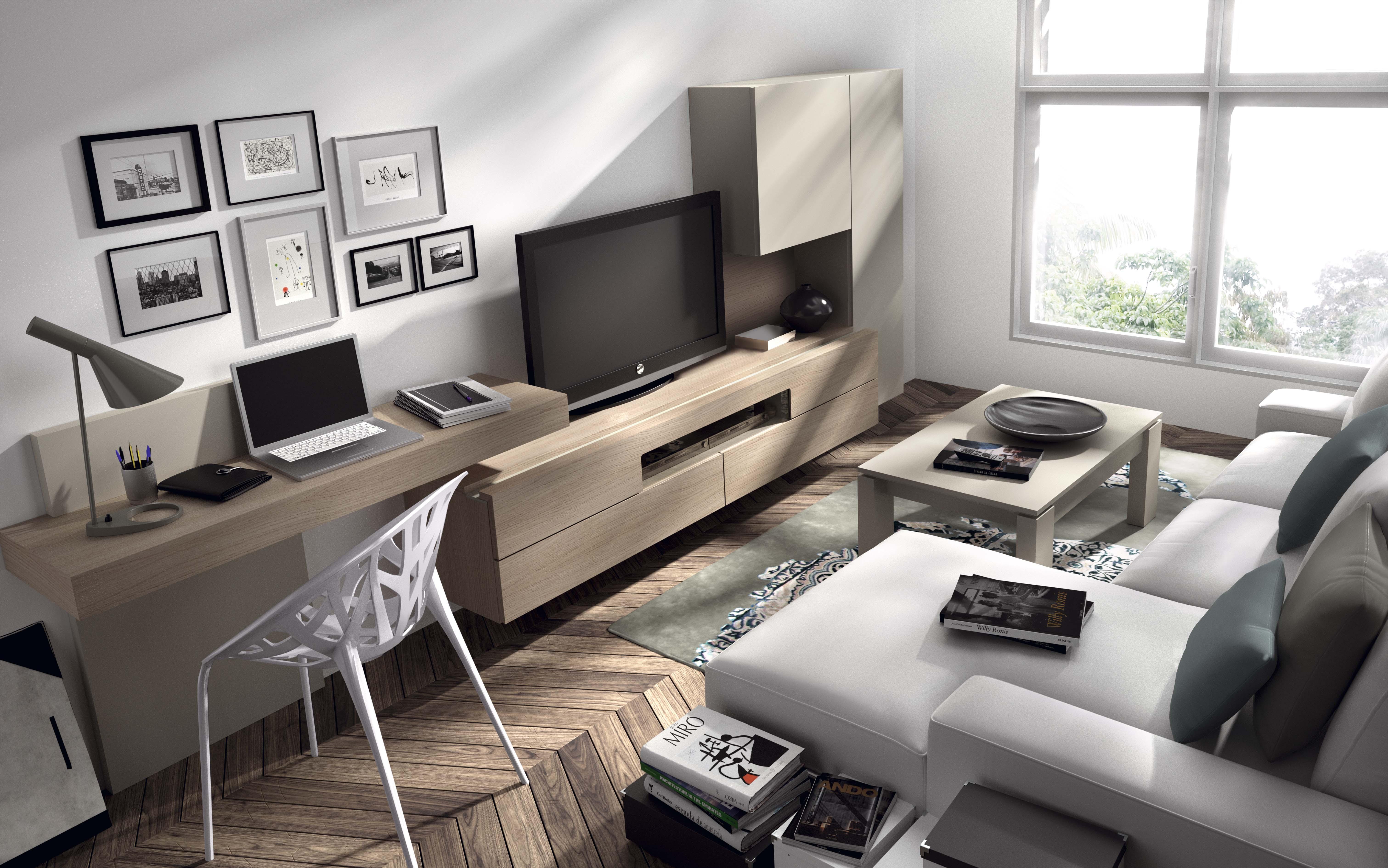 гостиная с компьютерным столом интерьер