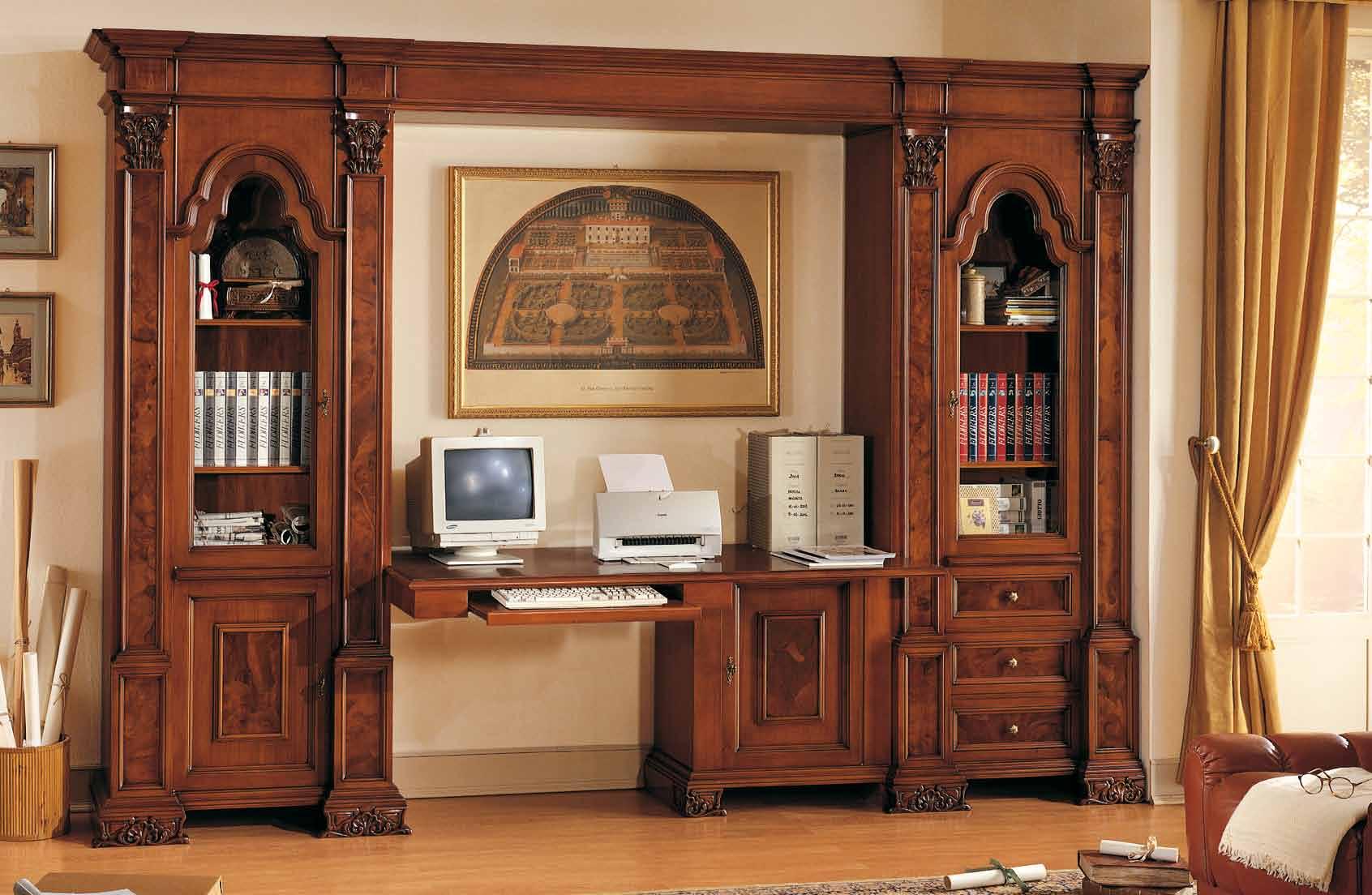 гостиная с компьютерным столом из дерева