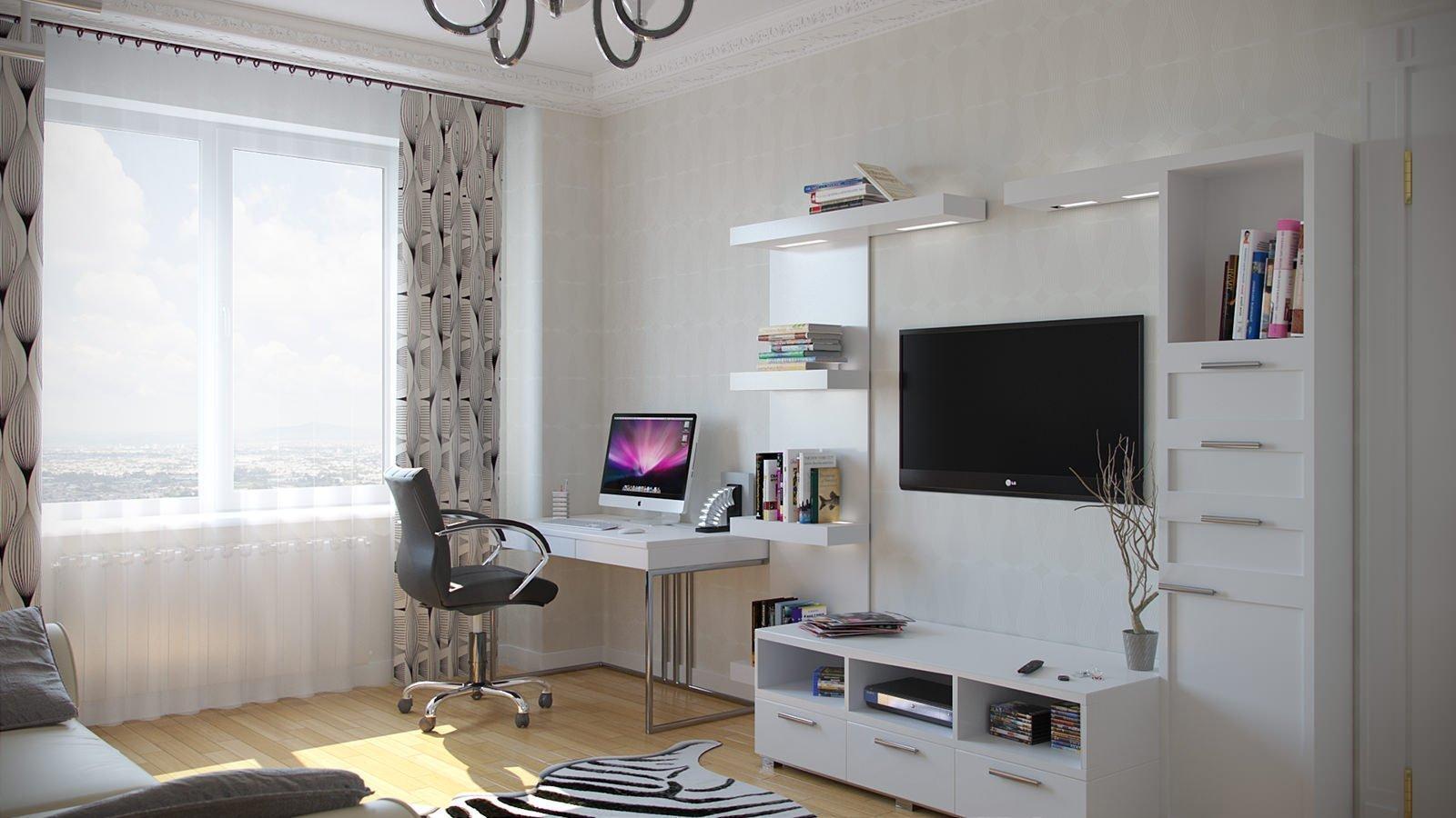 гостиная с компьютерным столом мдф