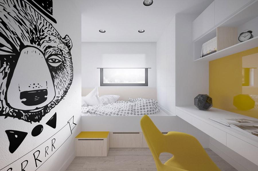Желтые акценты в детской комнате современного стиля