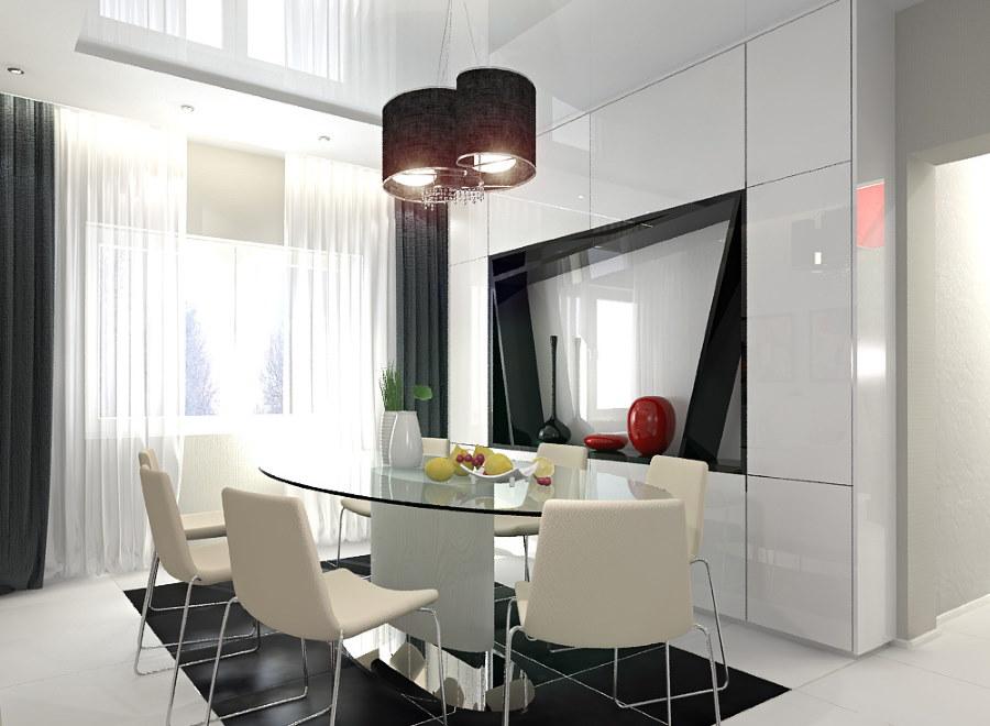 Обилие глянца в интерьере квартиры стиля хай тек
