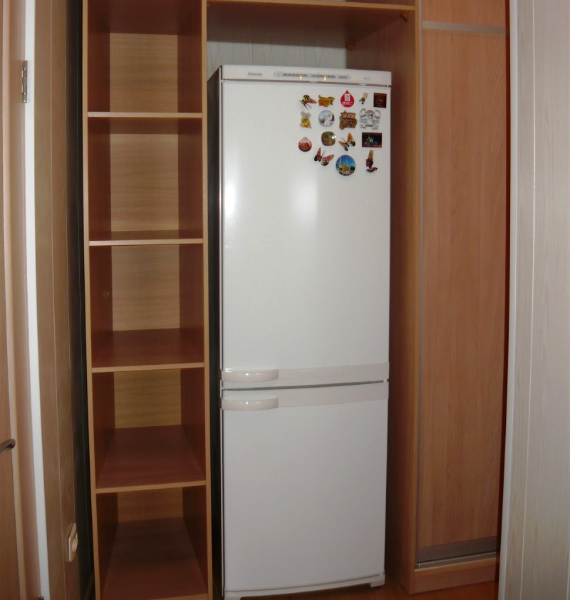 холодильник в шкафу коридора