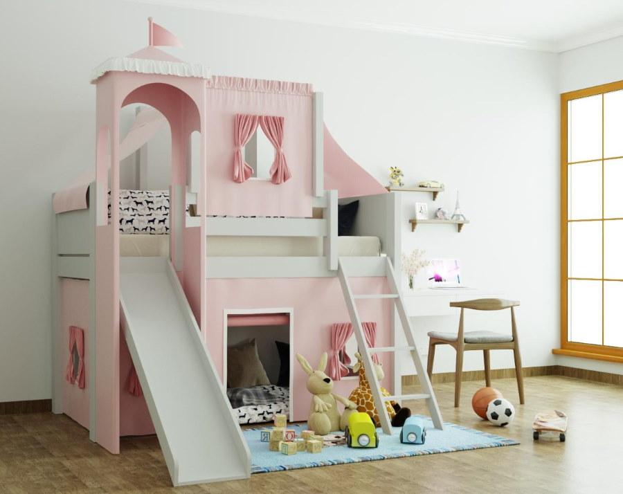 Кровать-чердак с зоной для детских игр