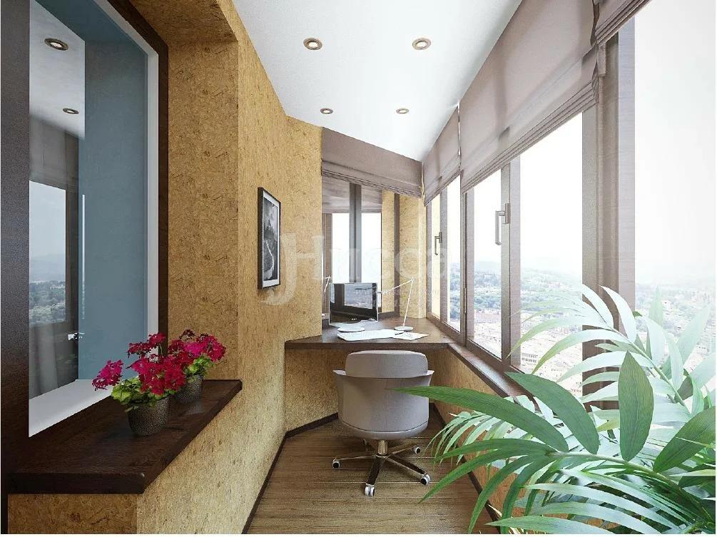 интерьер балкона обшивка пробкой