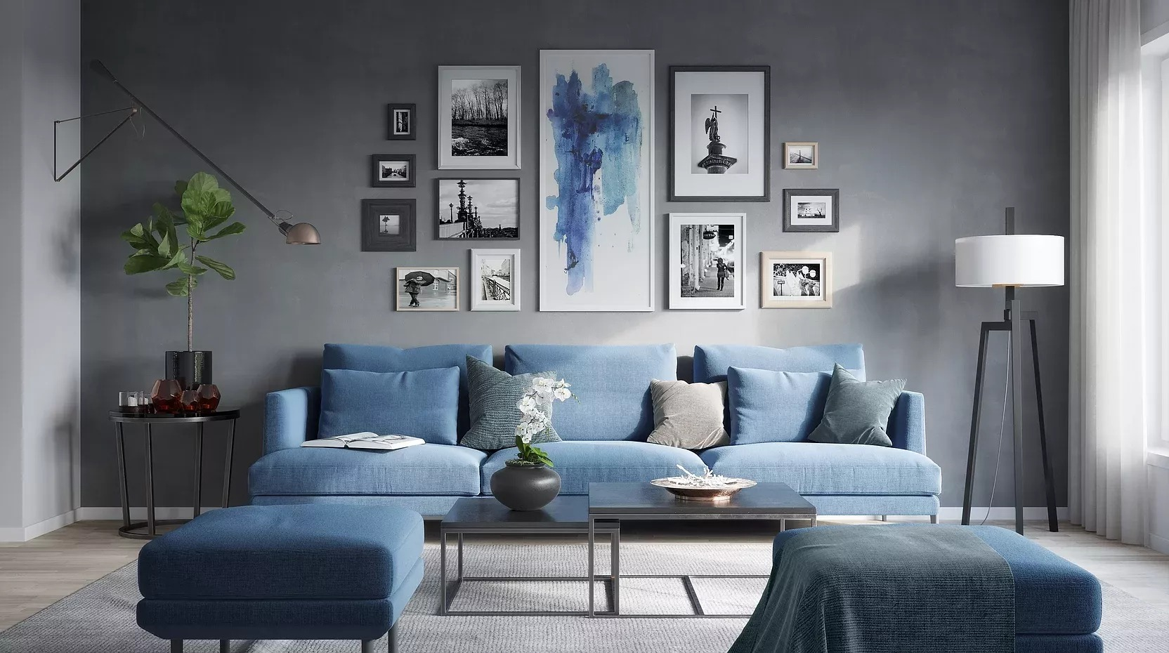интерьер гостиной в синих и серых тонах