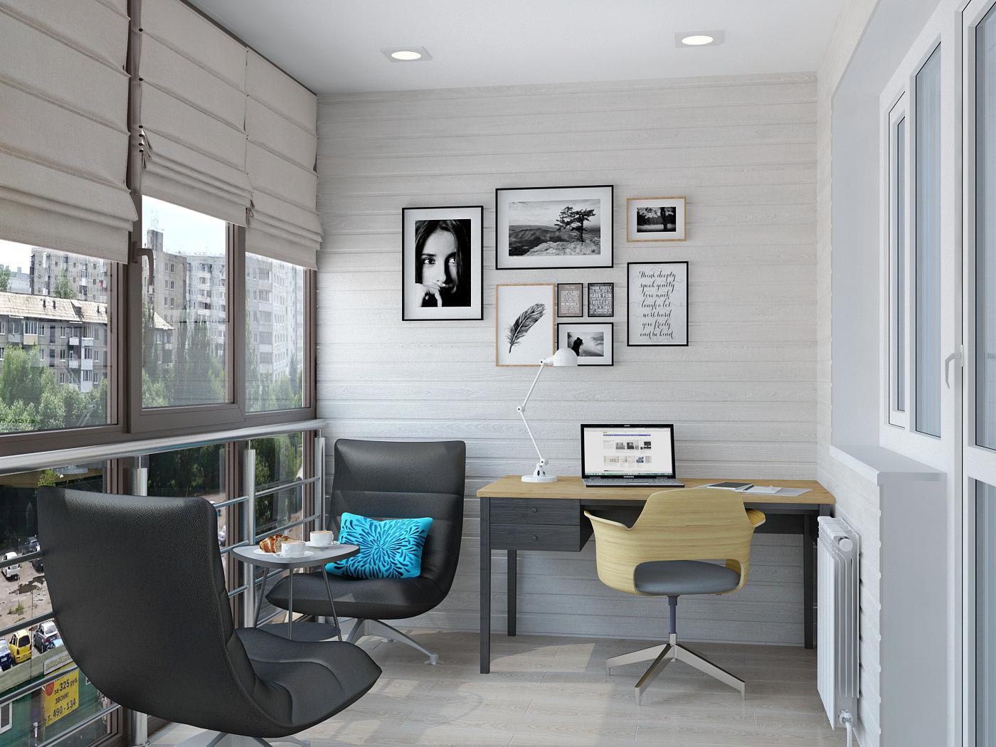 кабинет на балконе фото дизайн