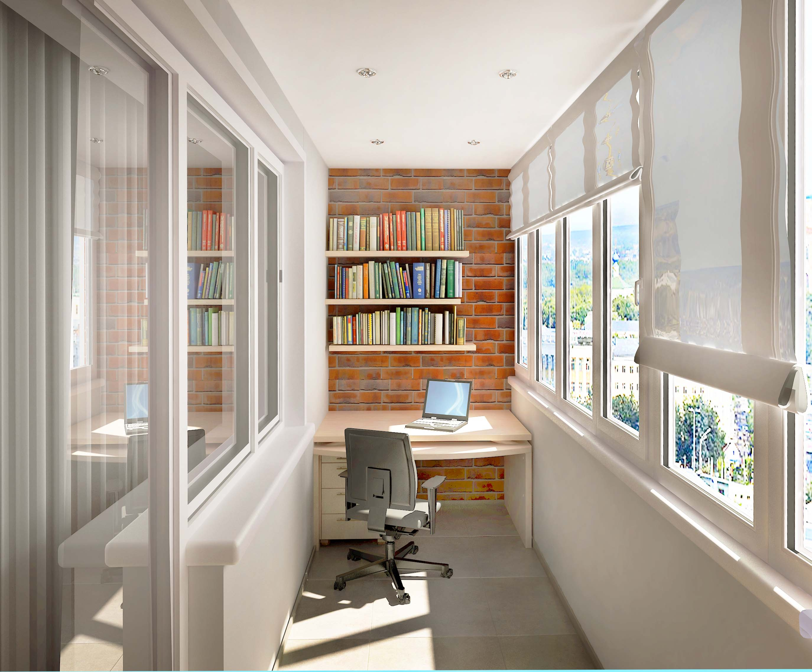 кабинет на балконе интерьер фото