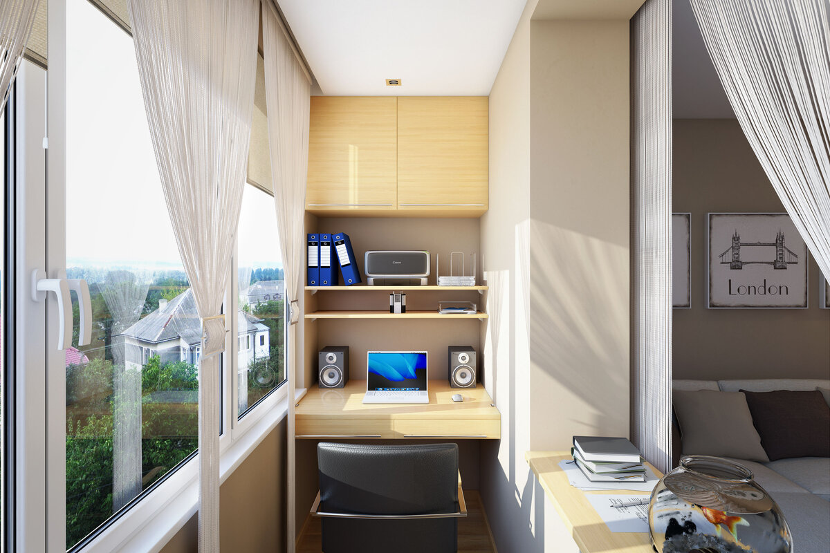 кабинет на балконе интерьер идеи