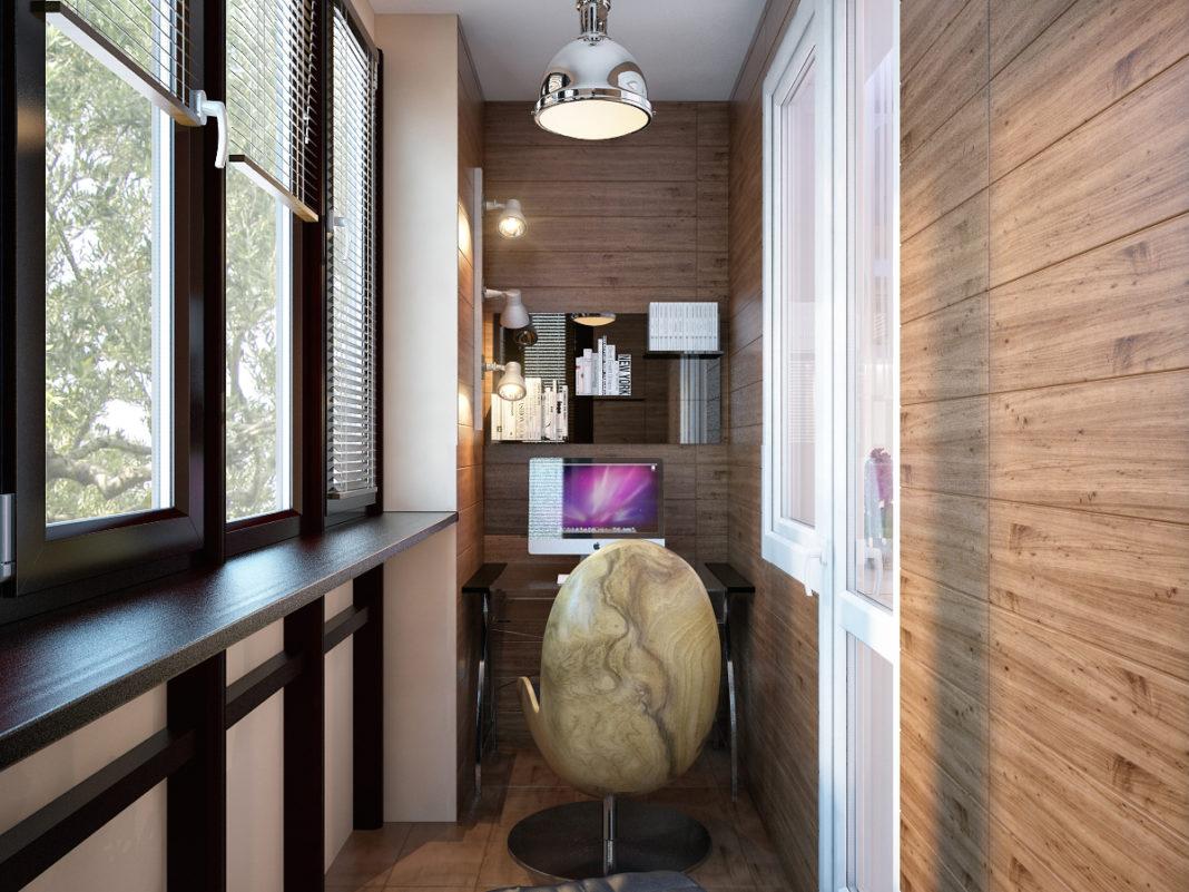 кабинет на балконе интерьер