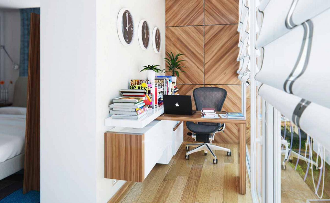 кабинет на балконе отделка стен