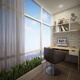 кабинет на лоджии балконе интерьер идеи