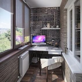 кабинет на лоджии балконе идеи фото