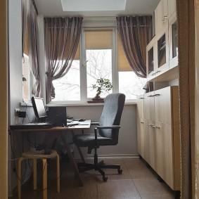 кабинет на лоджии балконе дизайн