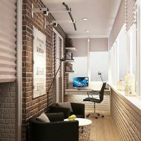 кабинет на лоджии балконе дизайн фото