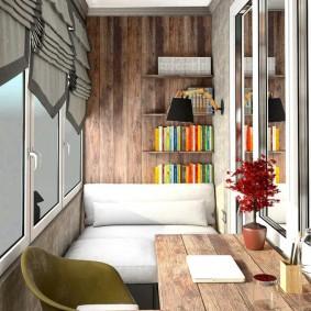 кабинет на лоджии балконе фото дизайн